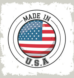 Made in usa flag button design vector