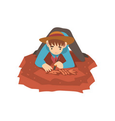 Male archaeologist lying on ground and sweeping vector