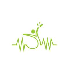 medical people heart pulse logo vector image
