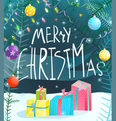 merry christmas hand drawn sign greeting card vector image