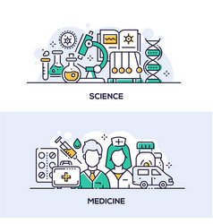 modern science and medicine banner templates set vector image