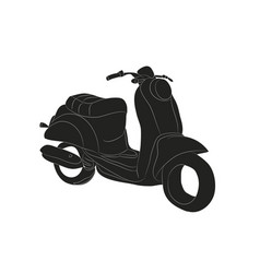 Moped stands drawing silhouette vector