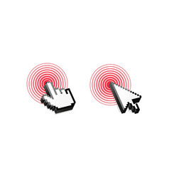 mouse cursor click red circle vector image