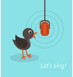 Music concept with microphone and singing bird vector