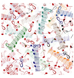music notation repeating pattern on a white vector image