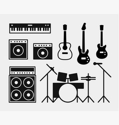 Music rock band instruments set vector