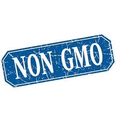 Non gmo blue square vintage grunge isolated sign vector