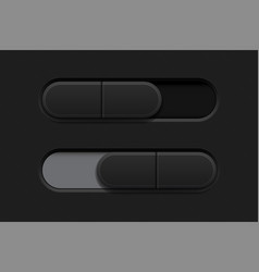 on and off slider buttons black 3d oval icons vector image