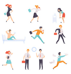 People running to work businesspeople characters vector