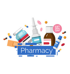 Pharmacy shop get 20 percent off price banner vector