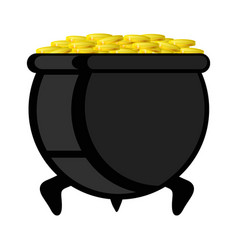 Pot with gold coin for patricks day vector