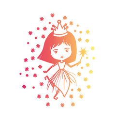 princess fairy with crown and magic wand and stars vector image