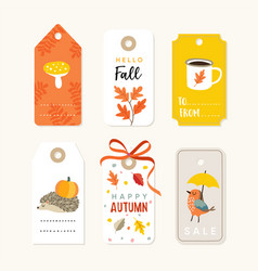 retro set cute autumn fall gift tags and vector image