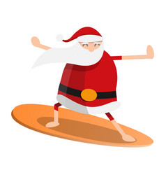 santa claus surfing icon cartoon style vector image