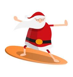 Santa claus surfing icon cartoon style vector