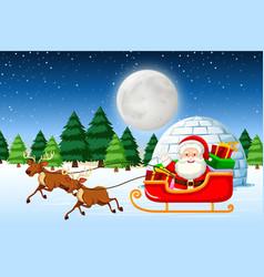 Santa riding sleigh at night vector