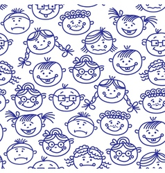 Seamless baby cartoon faces vector image