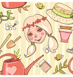 Seamless pattern with flower girl hats garden tool vector image