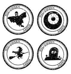 Set halloween stamp postal icon ghost witch eye vector