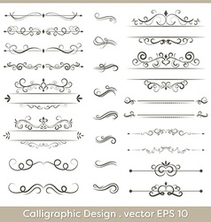 Set of calligraphic vintage ornaments with dashes vector