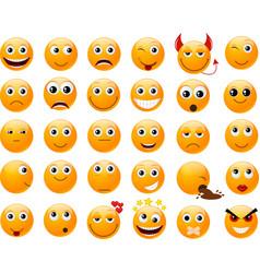Set of orange smiles vector
