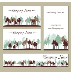 set templates with trees vector image