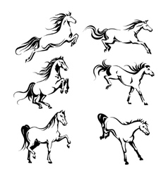 Set with hand-drawing graphic of a running horses vector image