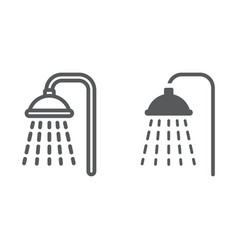 Shower line and glyph icon real estate vector