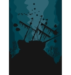 Silhouette of a ghost ship underwater vector