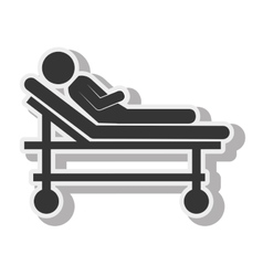 silhouette sick stretcher medical care design vector image