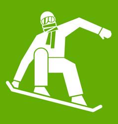 Snowboarder icon green vector