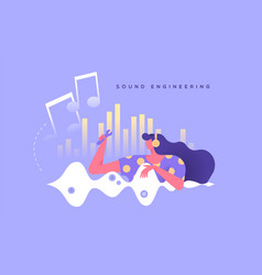 Sound engineering woman character music concept vector