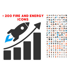 startup rocket growth chart icon with bonus energy vector image