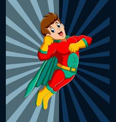 Strong superhero man flying vector