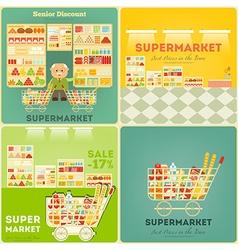 Supermarket posters set vector
