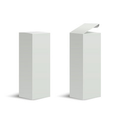 Tall box high white cardboard box with a closed vector