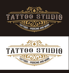 tattoo logo template with vintage ornaments vector image