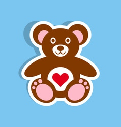 Teddy bear icon with heart vector image