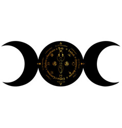 Triple moon wicca pagan goddess wheel year vector