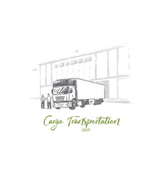 truck delivering cargo unloading goods into vector image