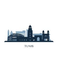Tunis skyline monochrome silhouette vector