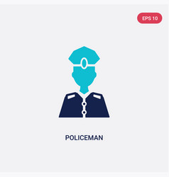 two color policeman icon from history concept vector image