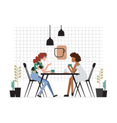 two girls or pair of female friends sitting at vector image