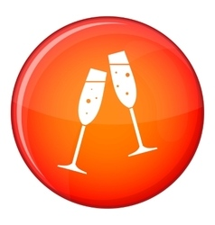 Two glasses of champagne icon flat style vector image