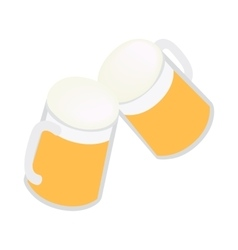 Two mugs of beer icon isometric 3d style vector image