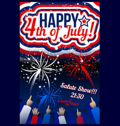usa independence day banners set with fireworks vector image