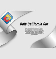 Waving ribbon or banner with flag state mexico vector