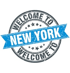 Welcome to New York blue round vintage stamp vector