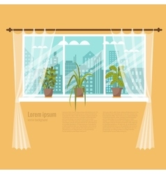 window with curtains and flowers vector image
