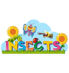 word for insects with many insects in garden vector image